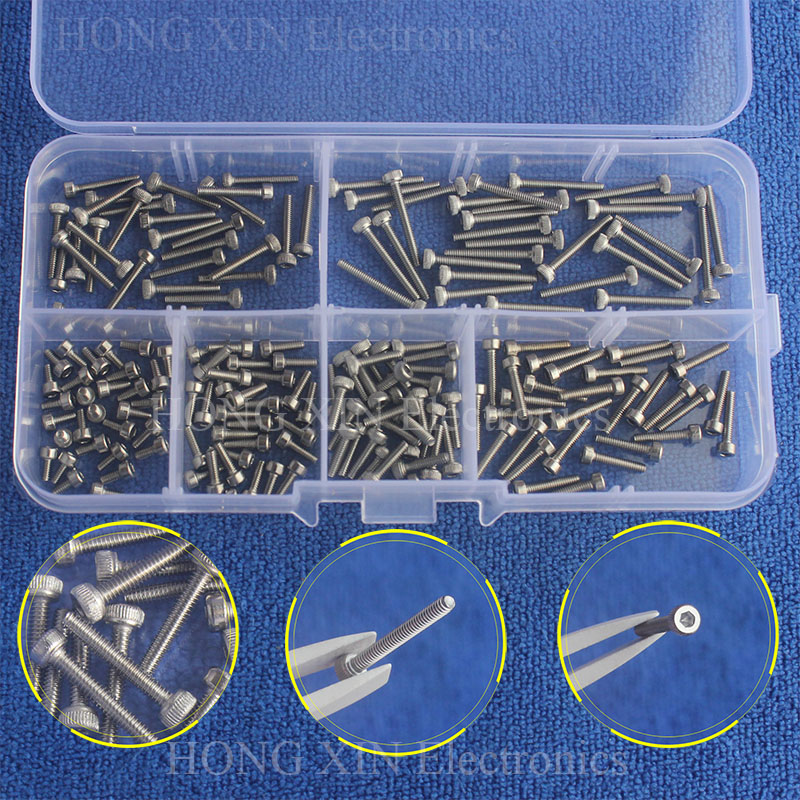 180pcs/set M2 * 4 / 6 / 8 / 10 / 12 / 16mm Hex Socket Head Cap Screw Stainless Steel M2 screw Accessories Kit Sample box 250pcs set m3 5 6 8 10 12 14 16 20 25mm hex socket head cap screw stainless steel m3 screw accessories kit sample box