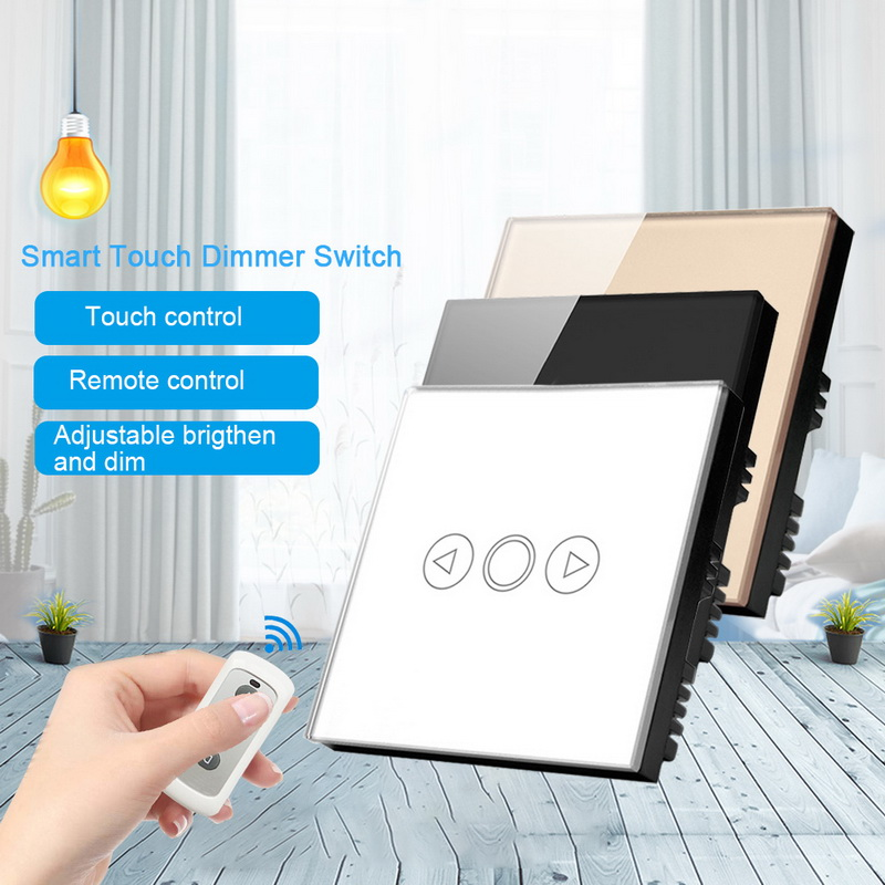 Urijk 1 Gang 1Way Wall LED Light Dimmer Switch Tempered Glass Touch Sensor Panel With Wireless Remote Control Switch
