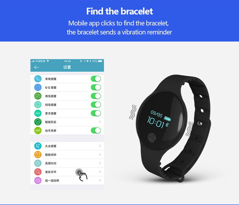 ALANGDUO H8 Smart Bracelet Children Style Touch Control Band ip65 Waterproof Sport Activity Tracker Fitness Wristbands Watches (16)