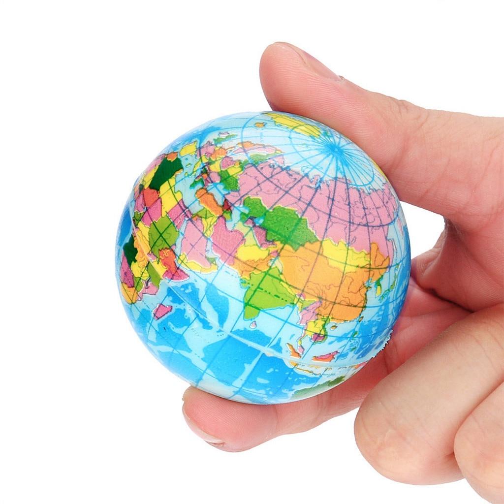 60mm Mini Earth Ball Stress Relief Squishies Toy World Map Foam Ball Soft Squishies Doll Atlas Globe Palm Ball Planet Kids Gift