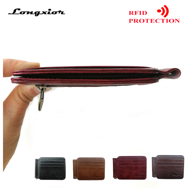 RFID BLOCKING 2019 New Leather Money Clip Metal Wallet Men Thin Billfold Folded Clamp for Money Credit  Cash Clips