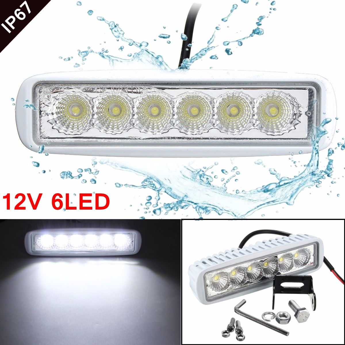 Universal 12V 6 LED Car Light Bar as Worklight/ Flood Light/ Spot For Boating/ Hunting/ Fishing/ RV/Truck