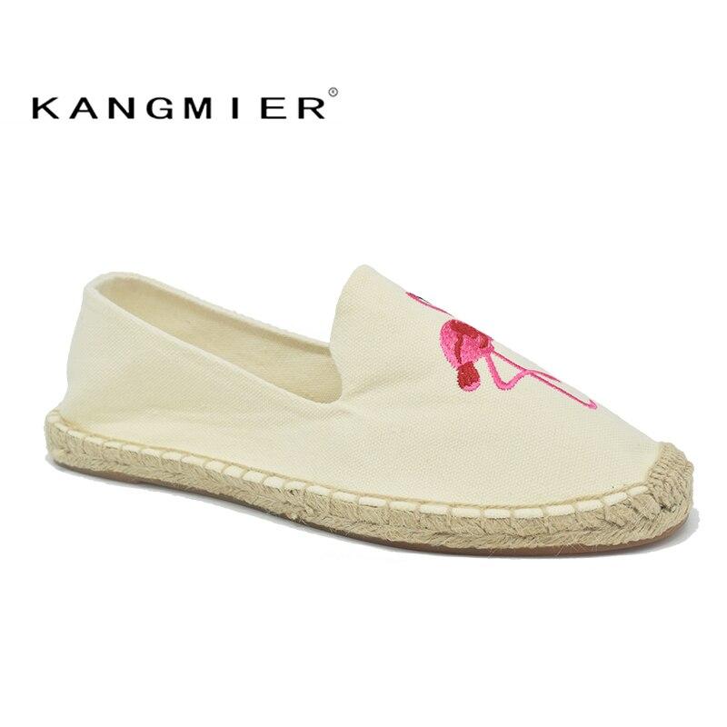 Autumn Spring beige canvs pink Flamingo Alpargatas Shoes Women Espadrilles Flats Embroider Hemp shoes KANGMIER Brand foppapedretti passenger spring arancio beige