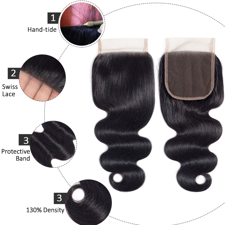 FABC Hair Brazilian Hair Weave Bundles With Closure Pre Plucked Body Wave Human Hair Middle Ratio Non Remy Hair Natural Black