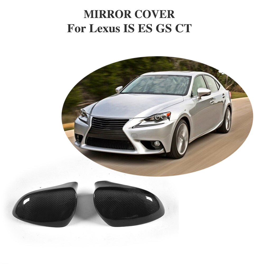 Add On Style Carbon Fiber Rear View Mirror Cover Cap For <font><b>Lexus</b></font> IS <font><b>F</b></font> ES <font><b>GS</b></font> CT 200 300 <font><b>350</b></font> <font><b>Sport</b></font> 2013-2017 Left Hand Driving image