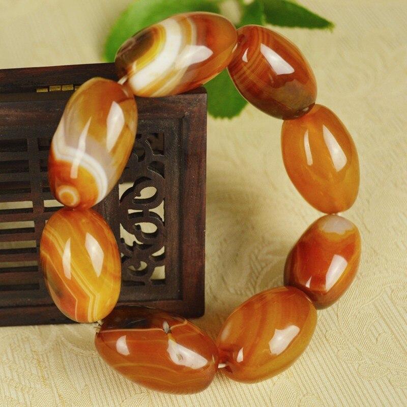 TNUKK Brazilian natural red stone Barrel bead bracelet men's bracelet jewelry Gift.