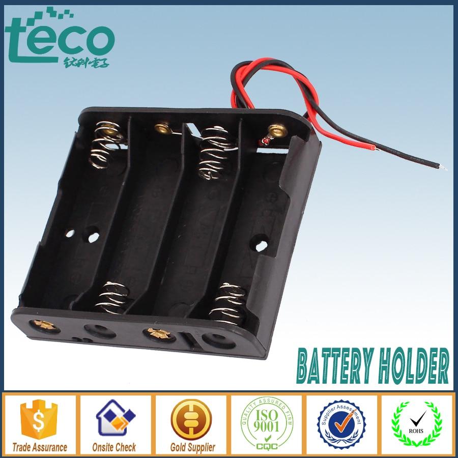 2PCS White Double-Sided Battery Holder Box 4AA 1.5V Battery Holder Plastic Case