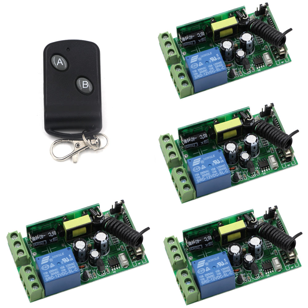 Household Appliances ON/OFF AC85V 110V 120V 220V 250V 1CH 10A Wireless Remote Control Switch 1 Remote Controller & 4 Receivers small relays wireless rc switch button signal line on off dc3 7 5v 12v controller remote control module