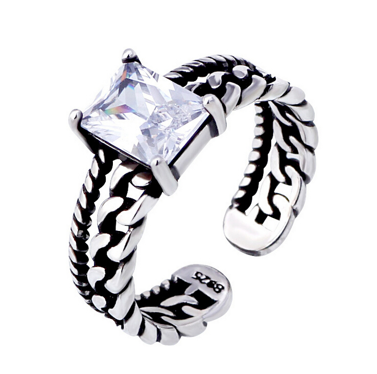 2016 new arrival fashion retro style zircon crystal 925 sterling silver Thai silver ladies`finger rings jewelry gift