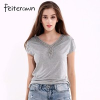 Feiterawn Summer Knitted Womens Tops Gray Casual Short Sleeve V Neck Cotton Top Female Beading T