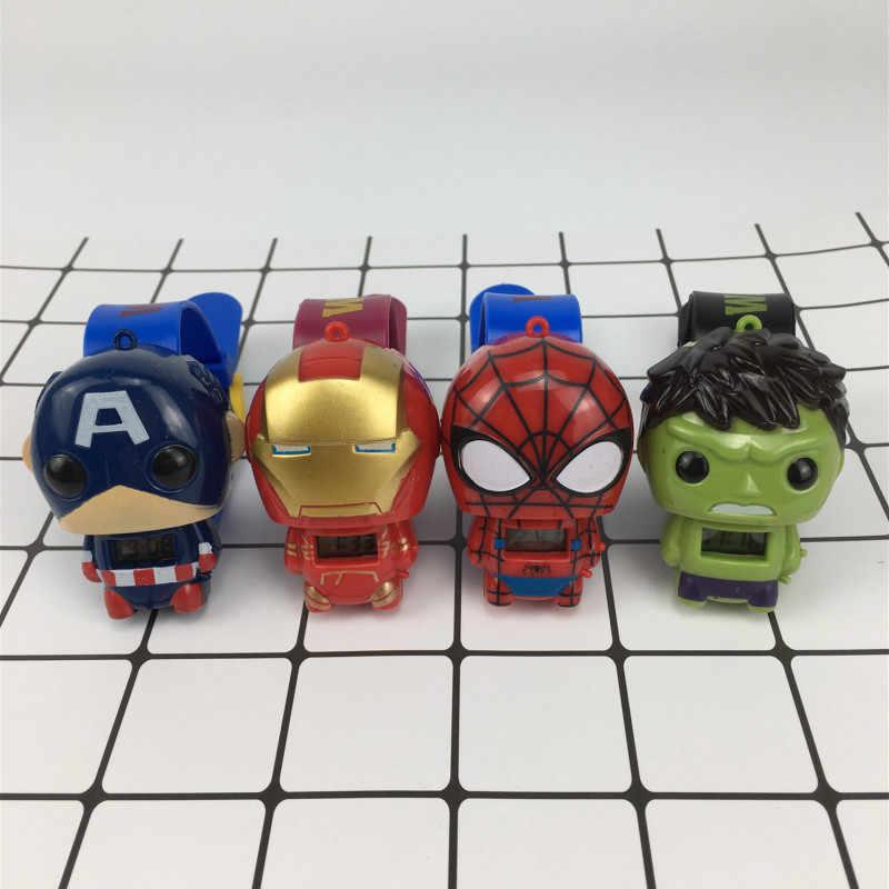 The Avengers Marvel Super Heroes Figuras Relógio Eletrônico das Crianças Capitão América Homem De Ferro Hulk Spiderman Figuras de Ação Brinquedos