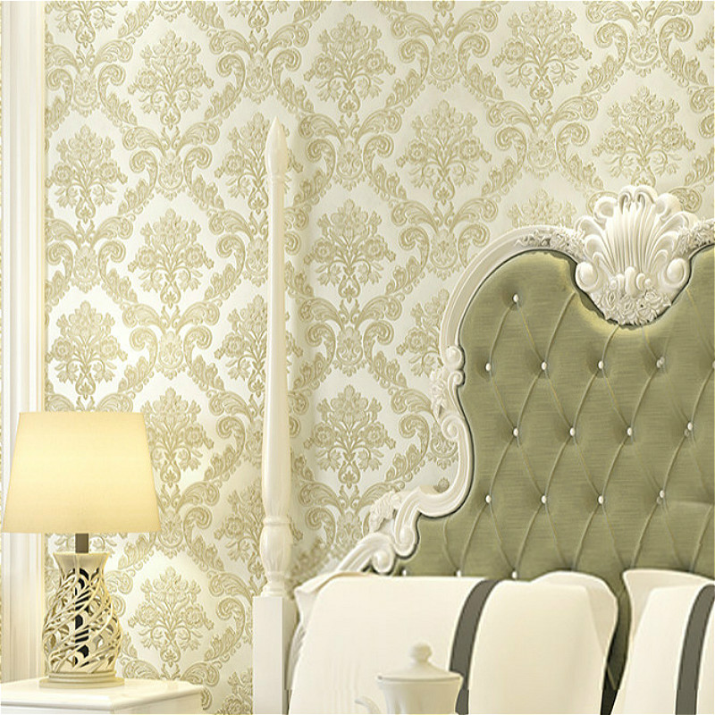 Victorian yellow 3d damask wallpaper for walls vintage damask wall paper roll wall coverings 10m home decor in wallpapers from home improvement on