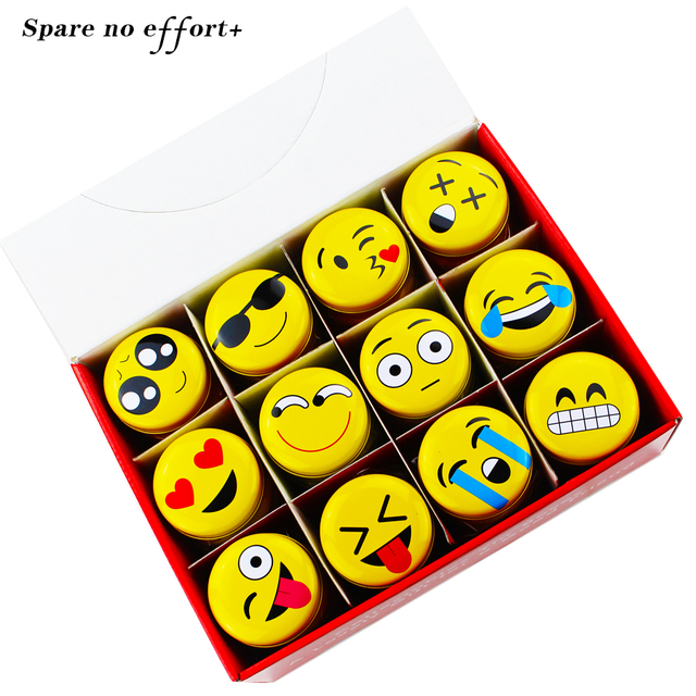 Acrylic Makeup Organizer Tin Storage Box Round Candy Box Tea Box Yellow  Cute Face Jewelry Case