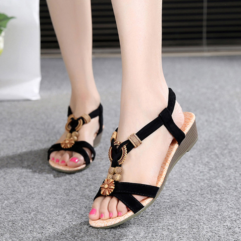Women Sandals Open Toe Shoes Women Wedges Sandals String Bead Summer Shoes Bohemian Style fashion woman sandals 2018 summer shoes women casual comfortable wedges open toe sandals women s sandals national style shoes