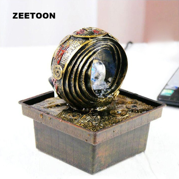 220V Resin Water Fountain Tabletop Air Humidifier Feng Shui Lucky Creative Home Decor Office Ornaments Business Birthday Gifts