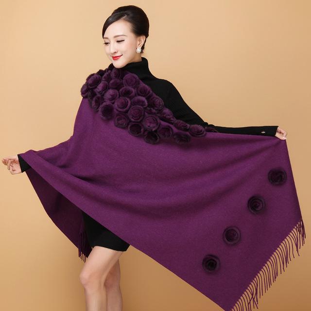 Novo Xale De Lã do Xaile do Lenço da forma das mulheres com pele de coelho bola flor senhoras quente durante todo o-match lenços com borlas