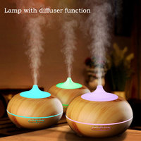 Night light decorative led lamp Rechargeable plug desk table 300ml Diffuser Wood Grain Cool Mist Humidifier for Office Home blub