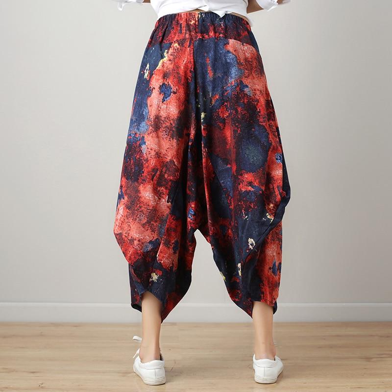 Harajuku Hippie Boho Ethnic Print Vintage Retro Cotton Linen Elastic Waist Loose Baggy Women Trousers Harem Pants Ladies Capri