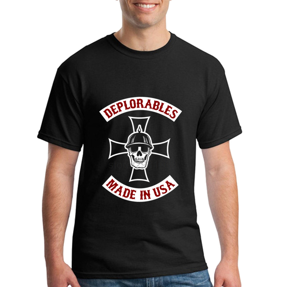 Design your own t shirt made in usa - Custom Made Short Sleeve Man Deplorables Made In Usa Bikers For Trump Custom Shirts