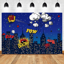 NeoBack Superhero Birthday Party Backdrops Night City Building Street Photography Background