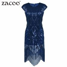 ZACOO Women 2017 sexy Vintage Flapper party Dress V Neck short sleeve Dress with Sequin Beaded Tassels for evening dance zk30