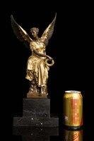 2019 home LIVING ROOM wall TOP Decor ART 38 CM large the Luck Fairy goddess Angel bronze statue sculpture Decoration brass