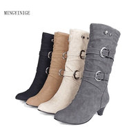 New Women s Fashion Shoes Slope with Boots Leather Boots Belt Buckle Metal Boots Metal Buckles Fashion Accessory Boots