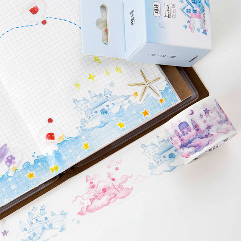 30mm 5m cute cloud castle Washi Tape DIY decoration scrapbooking planner masking tape adhesive tape label sticker stationery in Office Adhesive Tape from Office School Supplies