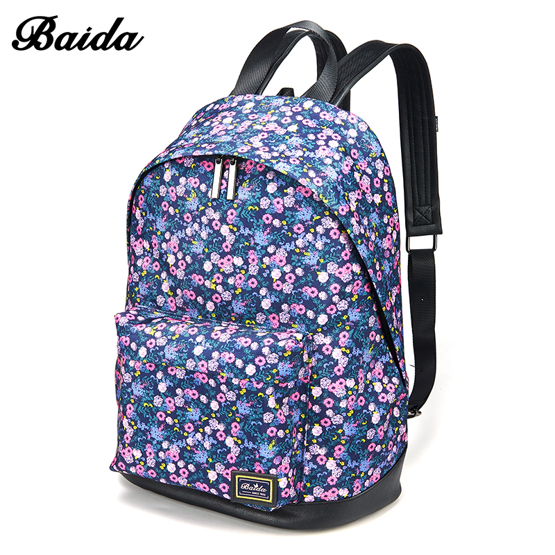 New Arrival BAIDA Small flower Backpack Women s Fashion bag Causal Ladies Daypack bags for School