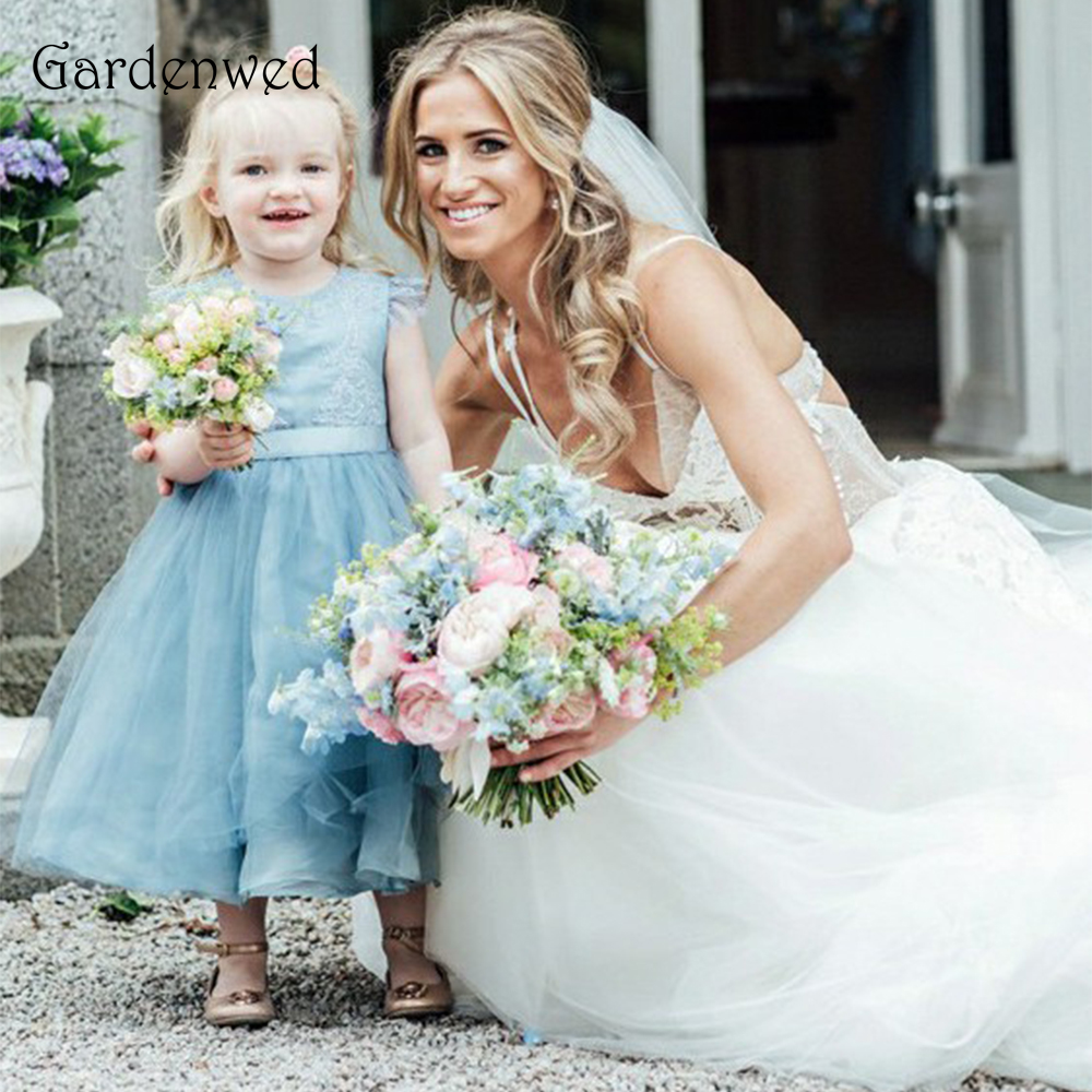 Gardenwed Blue Box   Flower     Girl     Dress   Shoulder Decorations Vestidos de Comunion 2019 Wedding Kids Gown Ankle Length Buttons Gown