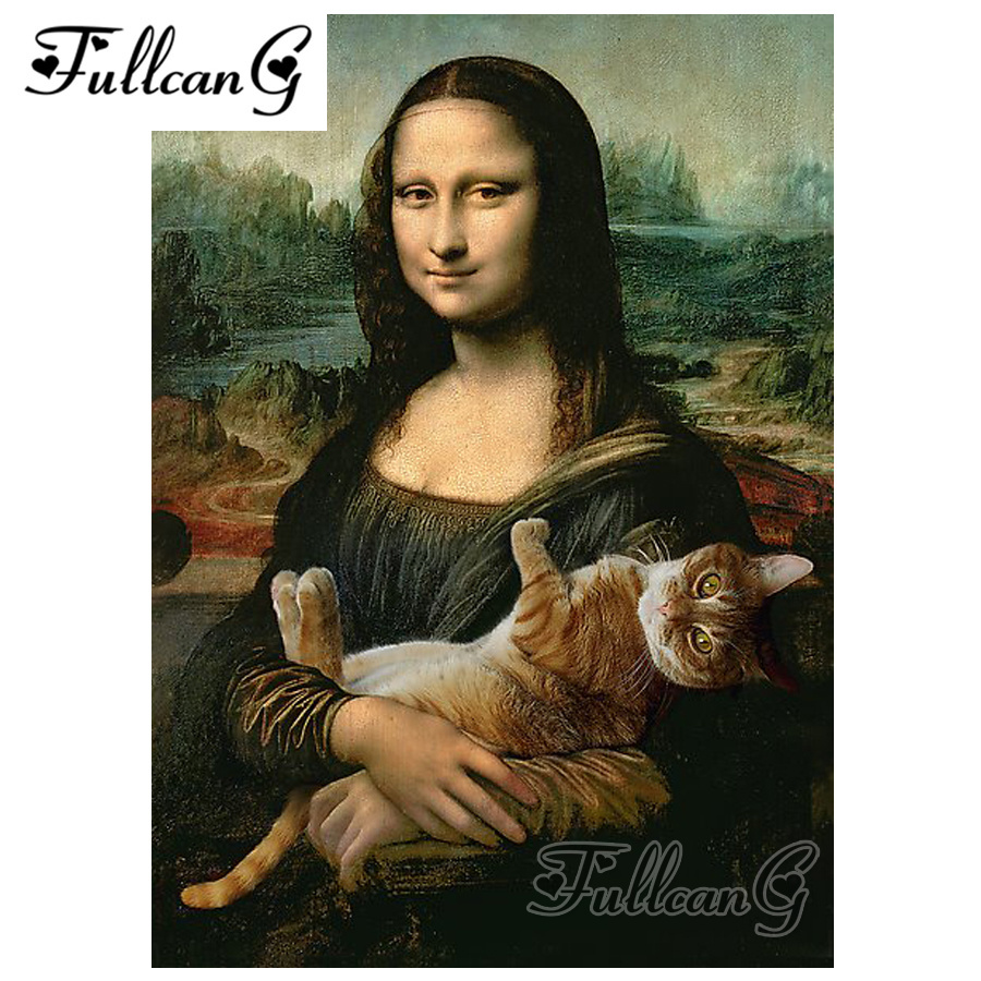 FULLCANG diamond embroidery mona Lisa love cat diy 5d painting cross stitch full square drill mosaic kits G713