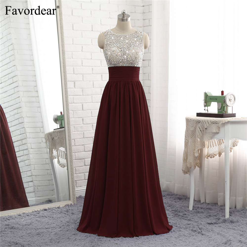 Favordear 2018 New Fashion Evening Dresses Burgundy Royal Blue Silver Beaded Top Pleated Waist A Line Chiffon Evrning Gowns