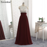 Favordear 2018 New Fashion Evening Dresses Burgundy Royal Blue Silver Beaded Top Pleated Waist A Line