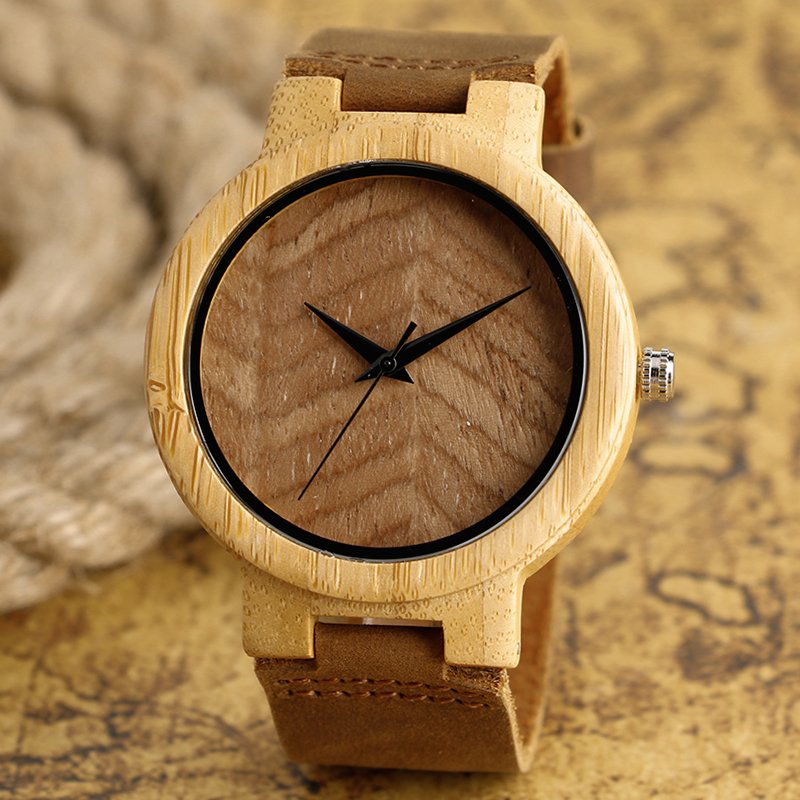 Classical Nature Men s Wood Watch Quartz Bamboo Wristwatch with Brown Genuine Leather Band Reloj de