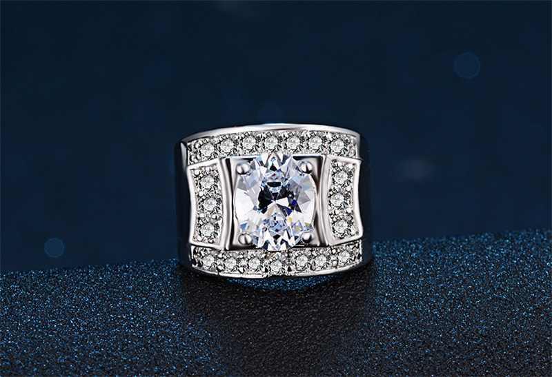 Yanleyu гипербола стиль большое Ювелирное кольцо Оригинал Твердые 925 пробы серебро Кубический Цирконий обручальные кольца для женщин и мужчин PR205