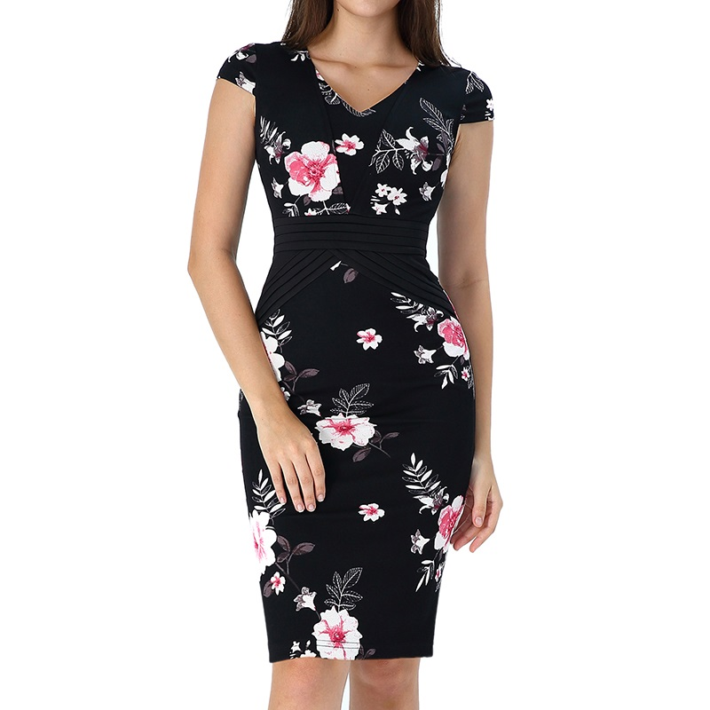 Vfemage Womens Elegant Floral Print Ruched Cap Sleeve Patchwork Slim Casual Work Office Business Party Bodycon Pencil Dress 2856