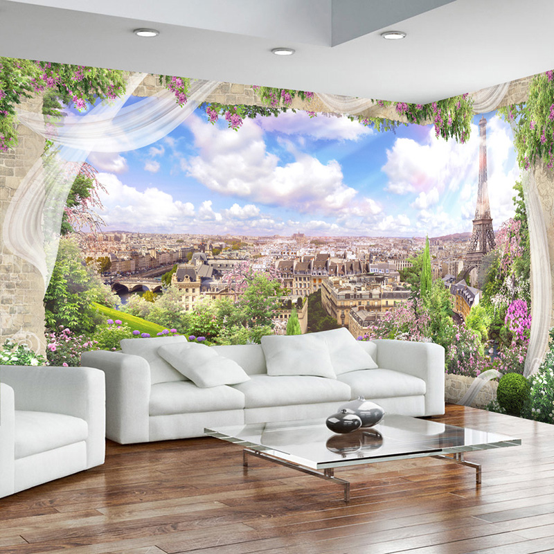 Custom Any Size 3D Mural Wallpaper Modern City Building Outside The Window Scenery Wall Painting European Style Wall Papers Roll