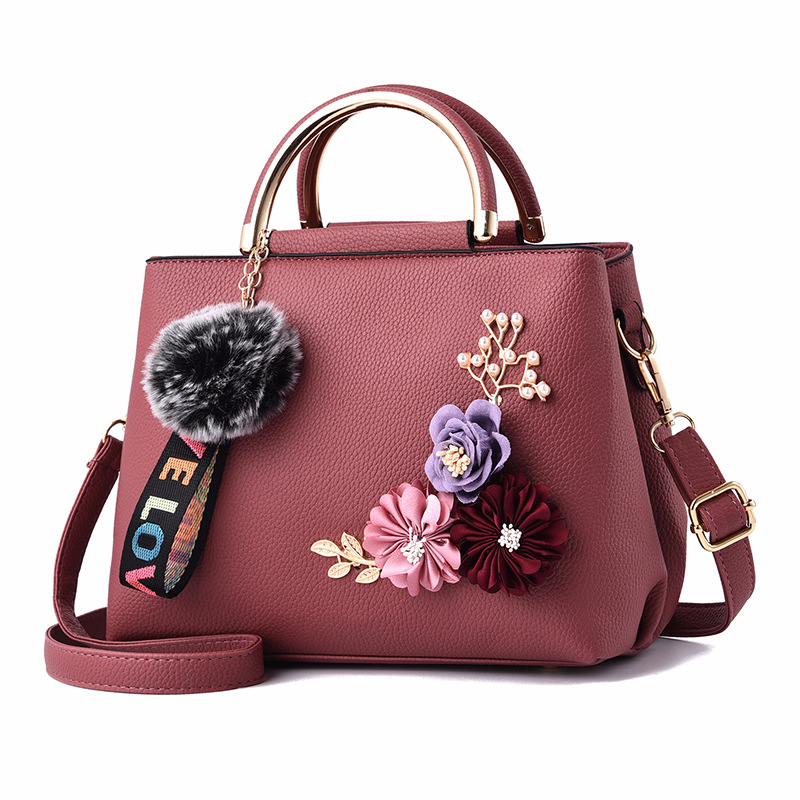 Flowers Women's Tote Leather Clutch Bag Small Ladies Handbags Women Messenger Bags Bag Pink
