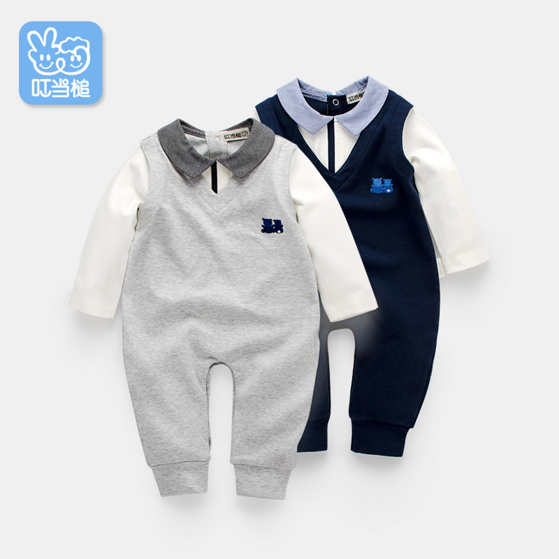 Dinstry Spring New born Rompers Clothing handsome Baby Costumes Infant Fake two pieces Boys one-piece