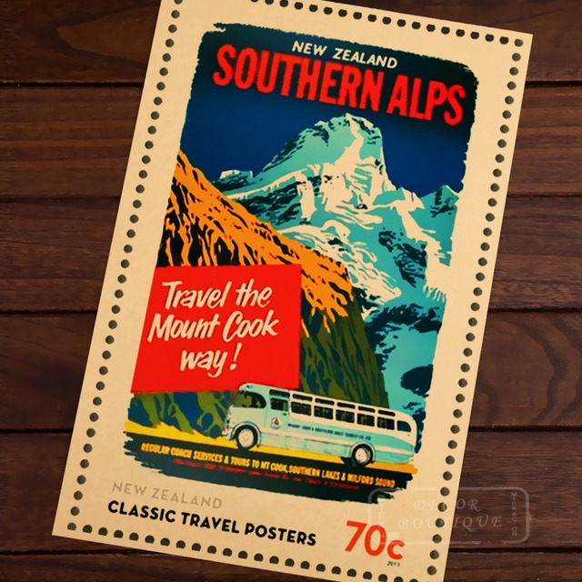Southern Alps Travel Stamps New Zealand NZ Vintage Retro Decorative Frame Poster DIY Wall Home Posters Home Decor Gift