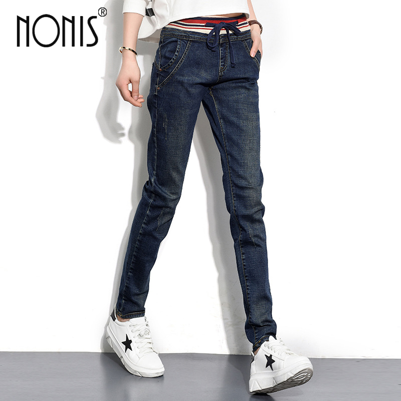 Nonis 2017 Women's Jeans New Warm Female Casual Elastic Waist Stretch Jeans Slim Denim Long Pencil Pants Lady Trousers 2017 new jeans women spring pants high waist thin slim elastic waist pencil pants fashion denim trousers 3 color plus size