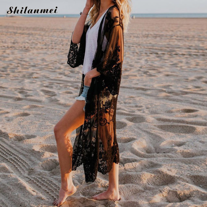 Black Long Sleeve 2019 New Hollow Out Print Flower Beach Long Outerwear Women Summer Tops Sexy Lace Open Kimono Cardigan Shirts(China)