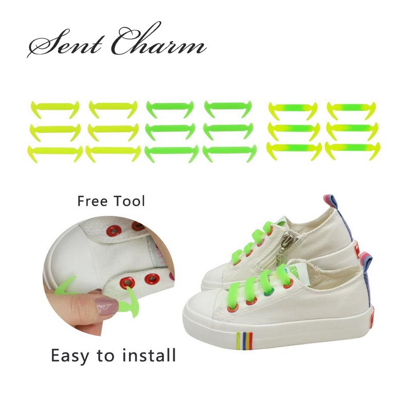SENTCHARM 12pcs/Set Novelty Waterproof Silicone Shoelaces For Kids No Tie Elastic Shoestrings For Sneakers Canvas Shoes