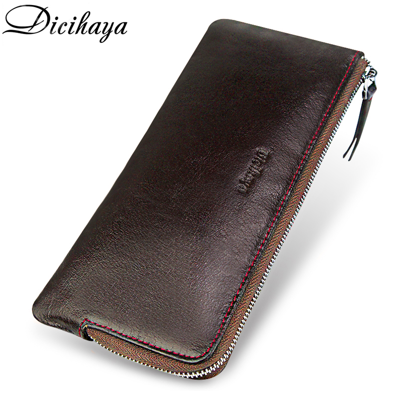 DICIHAYA Genuine Leather Men Wallet Phone Bag Soft Zipper Male Clutch Multi-Functional Cowhide Coin Purse For