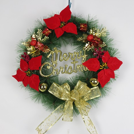 Handmade Christmas Wreath Home Wall Door Hanging Decorative Flowers  Decoration Party Supplies With Letter Merry Christmas