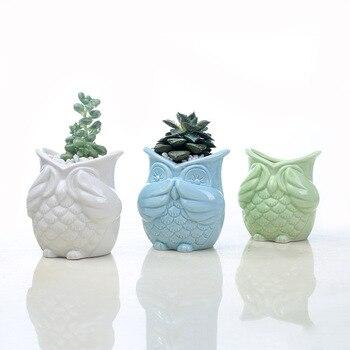 DIY Ceramic Glazed Owl Flower Pot Free Combination White Blue Flowerpot Planter Green Succulents Plant Desktop Garden Pots