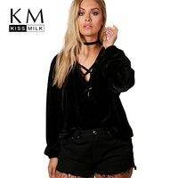 Kissmilk Women Plus Size Hoodies Woven Solid Sweatshirt Long Sleeve V Neck Cross Front Sweatshirt Large Size Fashion Sweatshirt