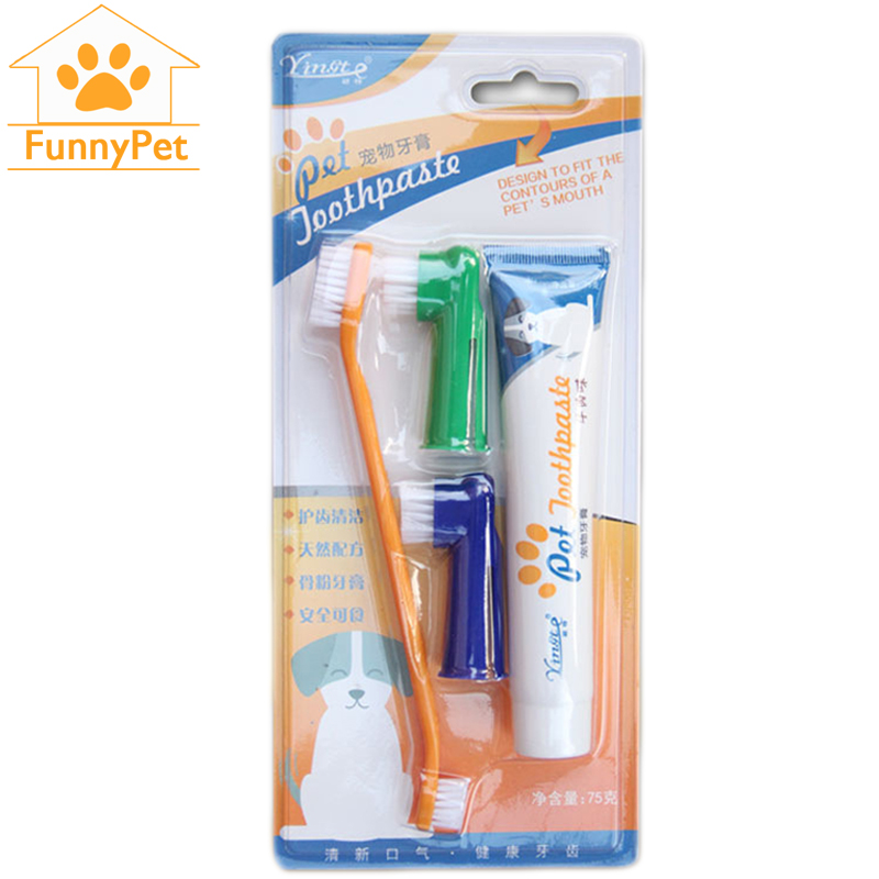 Pet Dog Cat Toothbrush Set Hot Puppy Beef Taste Teddy Dog Toothbrush Toothpaste Brush Head Finger Tooth Back Up Brush Care Set image