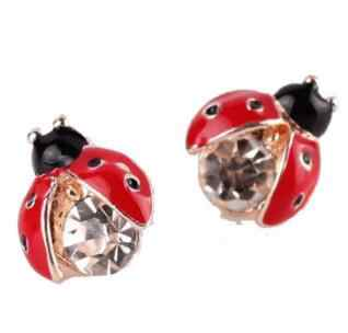 Hot Selling Fashion Cheap Ladybug Earrings Jewelry Lifelike Stud Earrings For Women