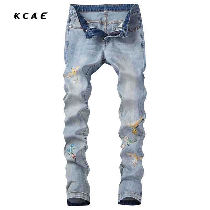 2017 New Arrivals Fashion Printed Bird Cotton Light Blue Men Jeans Pants Slim Fit Casual Denim Trousers Size 28-36 fashion europe style printed jeans men denim jeans slim black painted pencil pants long trousers tight fit casual pattern pants